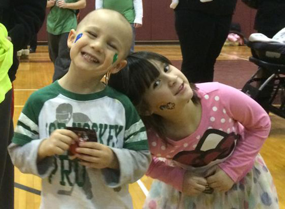 Sofia and her brother at a St. Baldrick's event in Bellmore, New York