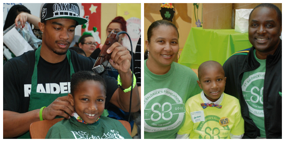 Harlem and his parents at the Oakland Children's Hospital head-shaving event