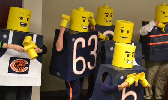 Lego guys at a St. Baldrick's head-shaving event