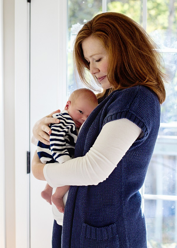 Megan Flynn with her newborn son, Andrew.