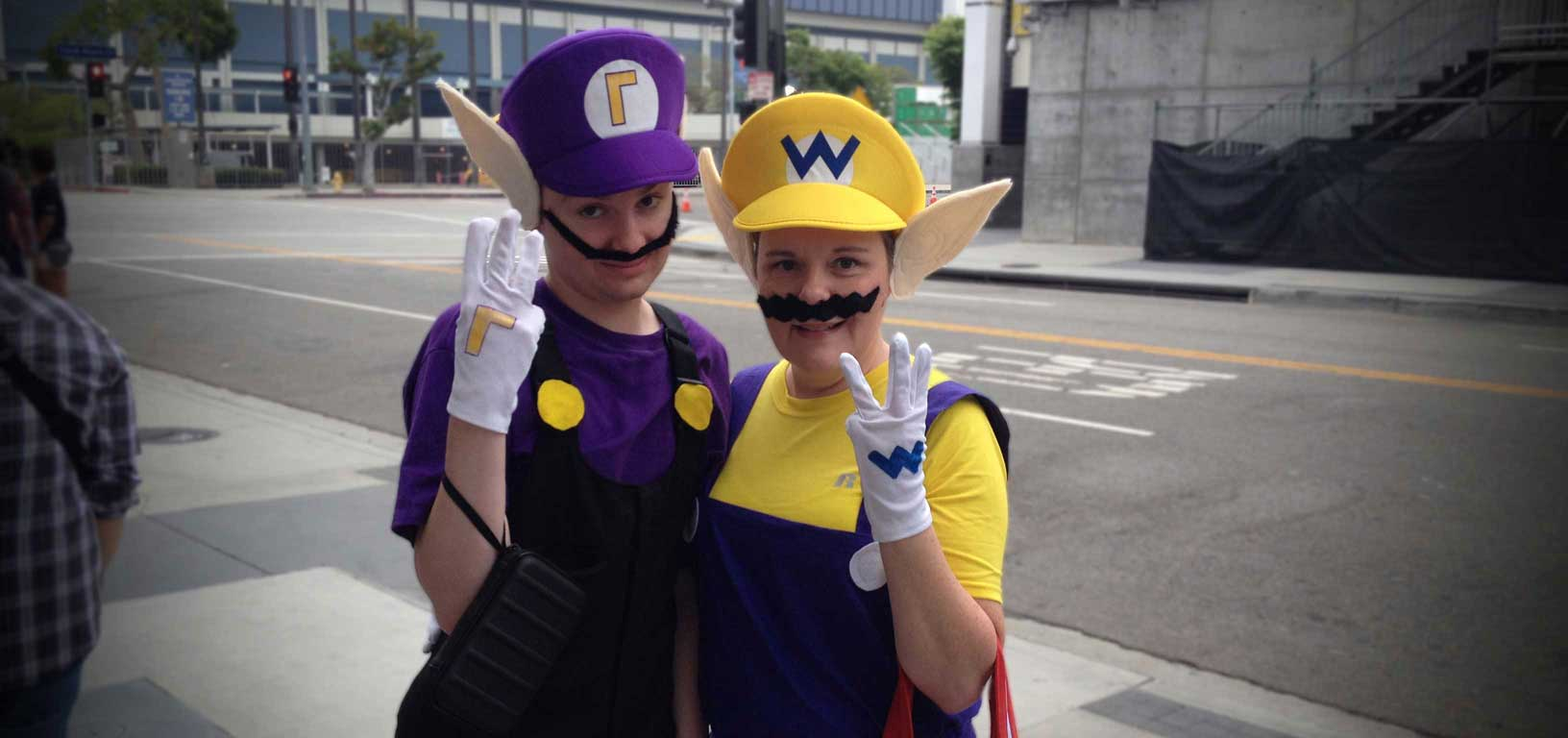 Kris Doyle and her son Will dressed up as Wario and Waluigi
