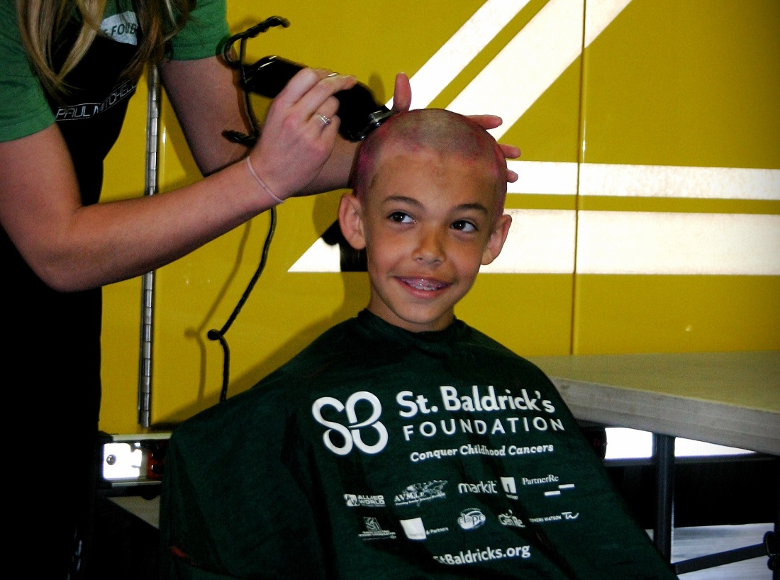 Wyatt during his shave for St. Baldrick's