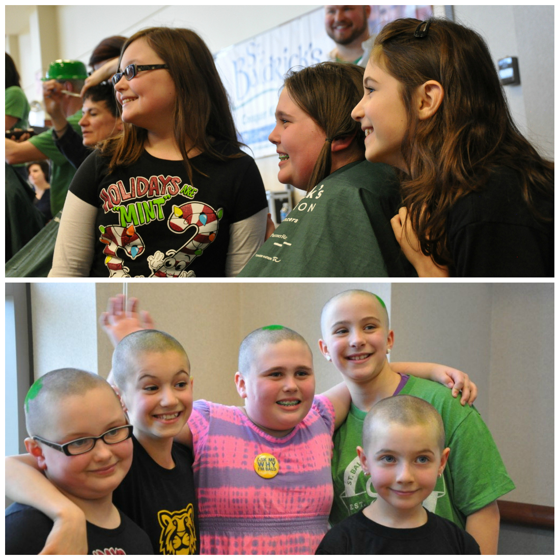 Five young girls shaved their heads together