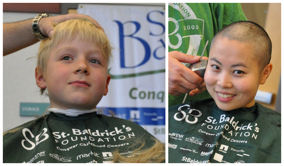 Boy and woman shaving their heads