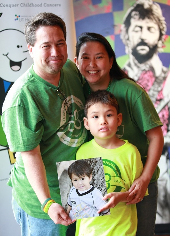 The Sanders family at a St. Baldrick's head-shaving event