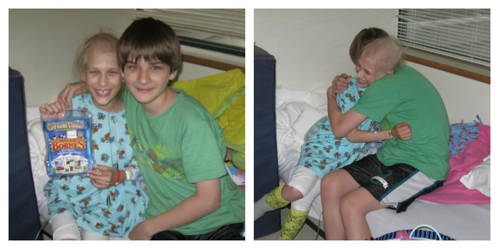 Annika and her brother while Annika was in treatment for childhood cancer