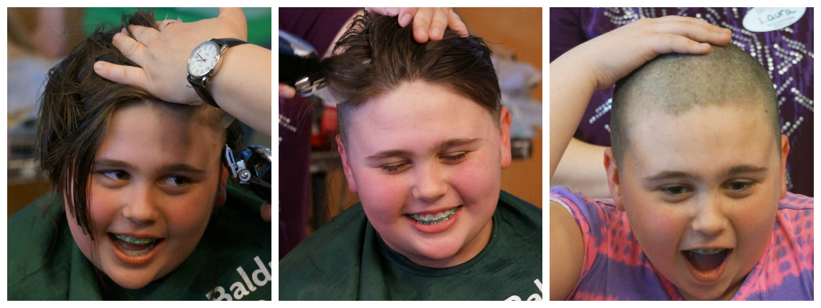Carolyn during her shave for St. Baldrick's
