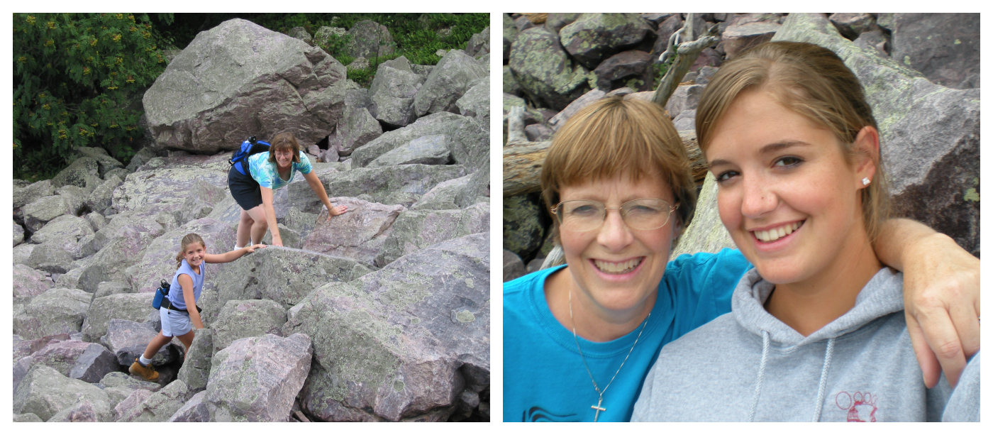 Jessica and her mom hiking at Devil's Lake State Park in Wisconsin