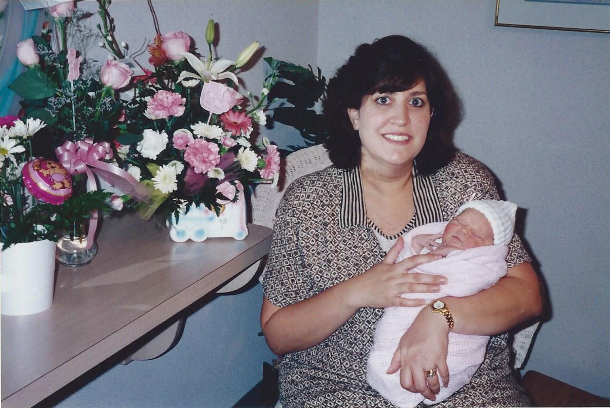 Newborn Lauren and her mom