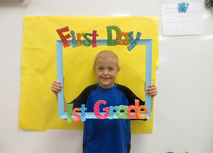 Holden on the first day of first grade