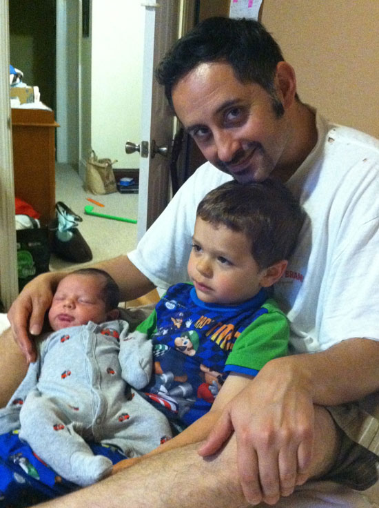 Joe, Jakub and Jonah, soon after he was born