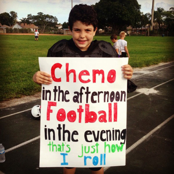 Josh loves playing football and was able to return to the sport a year after being diagnosed