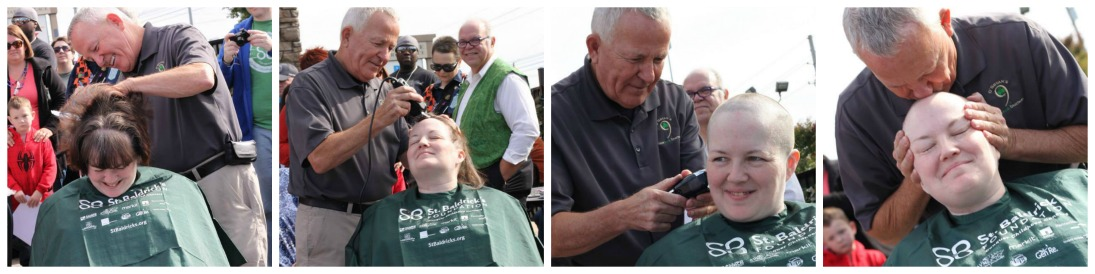 Heather shaved for St. Baldrick's in honor of her mother