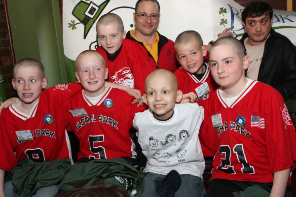 Aiden and friends after shaving heads for cancer