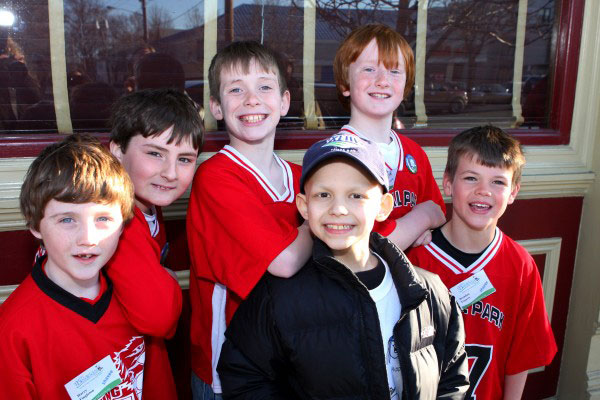 Aiden and his friends at the Floral Park, New York, St. Baldrick's head-shaving event