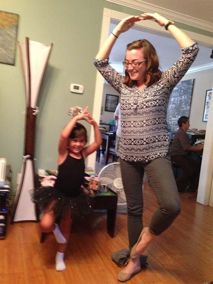 Aubrey teaching Alison ballet