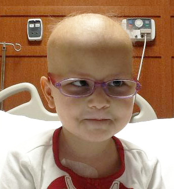 Hannah while in treatment for childhood cancer