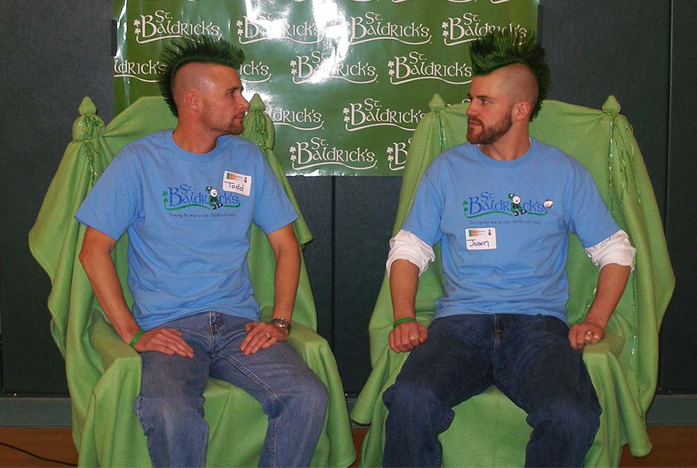 Todd Alonzo and Jason Alonzo with green mohawks