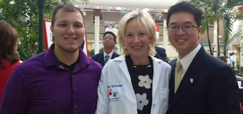 Daniel Kingsley with Dr. Agne Petrosiute and Dr. Alex Huang.