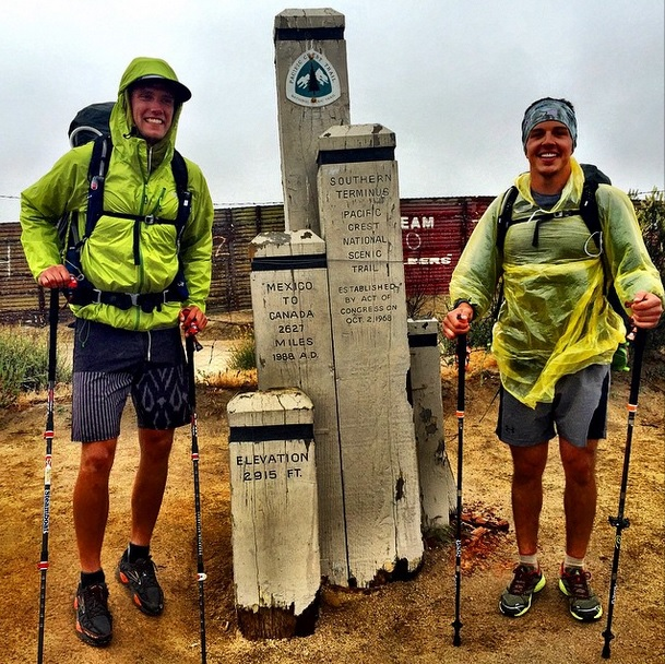 Greg Sagan and his friend and hiking partner Zac Barbiasz at the start of the PCT.