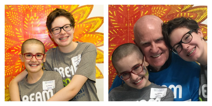 Ivy, Georgia and their grandfather are all smiles after the shave.