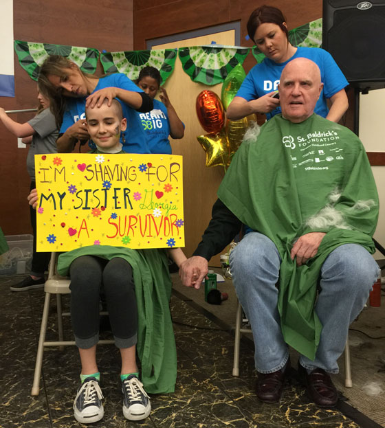 Ivy and her grandfather shave together.