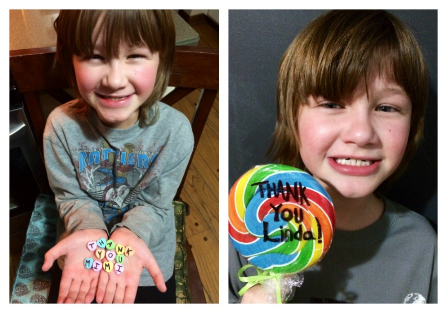 Bryce writes thank you with candy hearts and on a giant lollipop