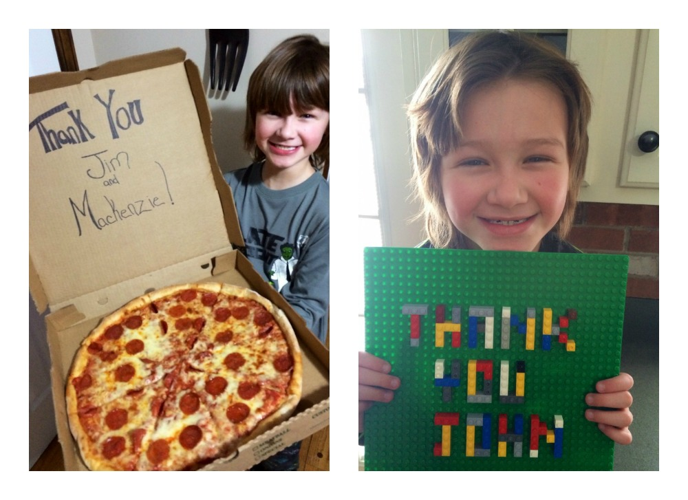 Bryce writes thank you on a pizza box and with Legos