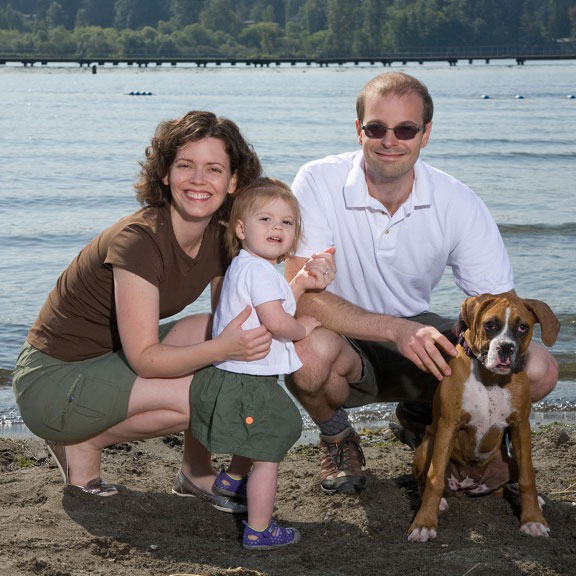 Dr. Rudzinski with her family at Juanita Beach in Kirkland, Washington.