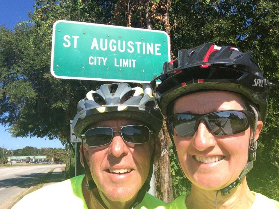Kim and Jon in front of the St. Augustine sign