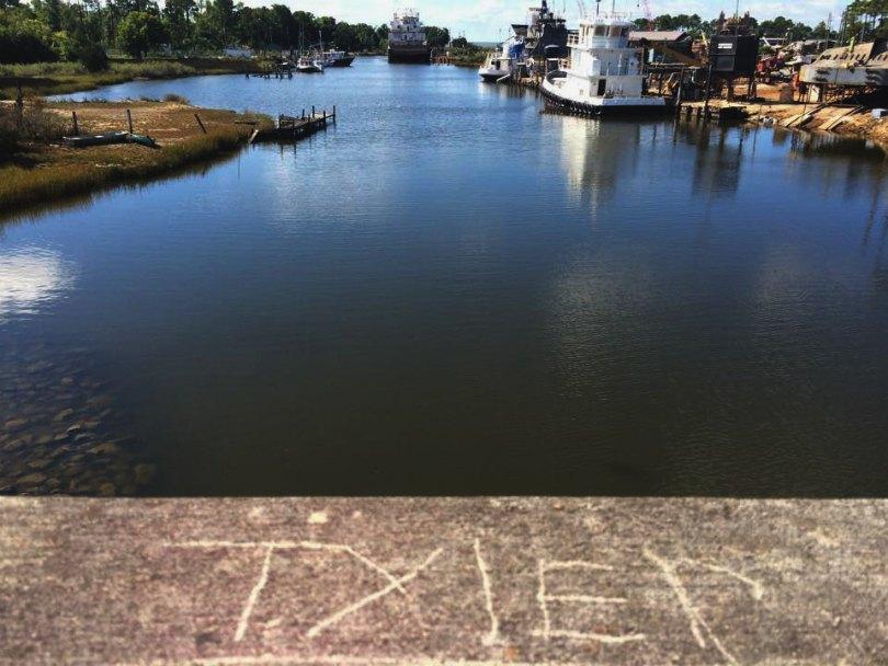 Tyler is written on a ferry dock in Alabama