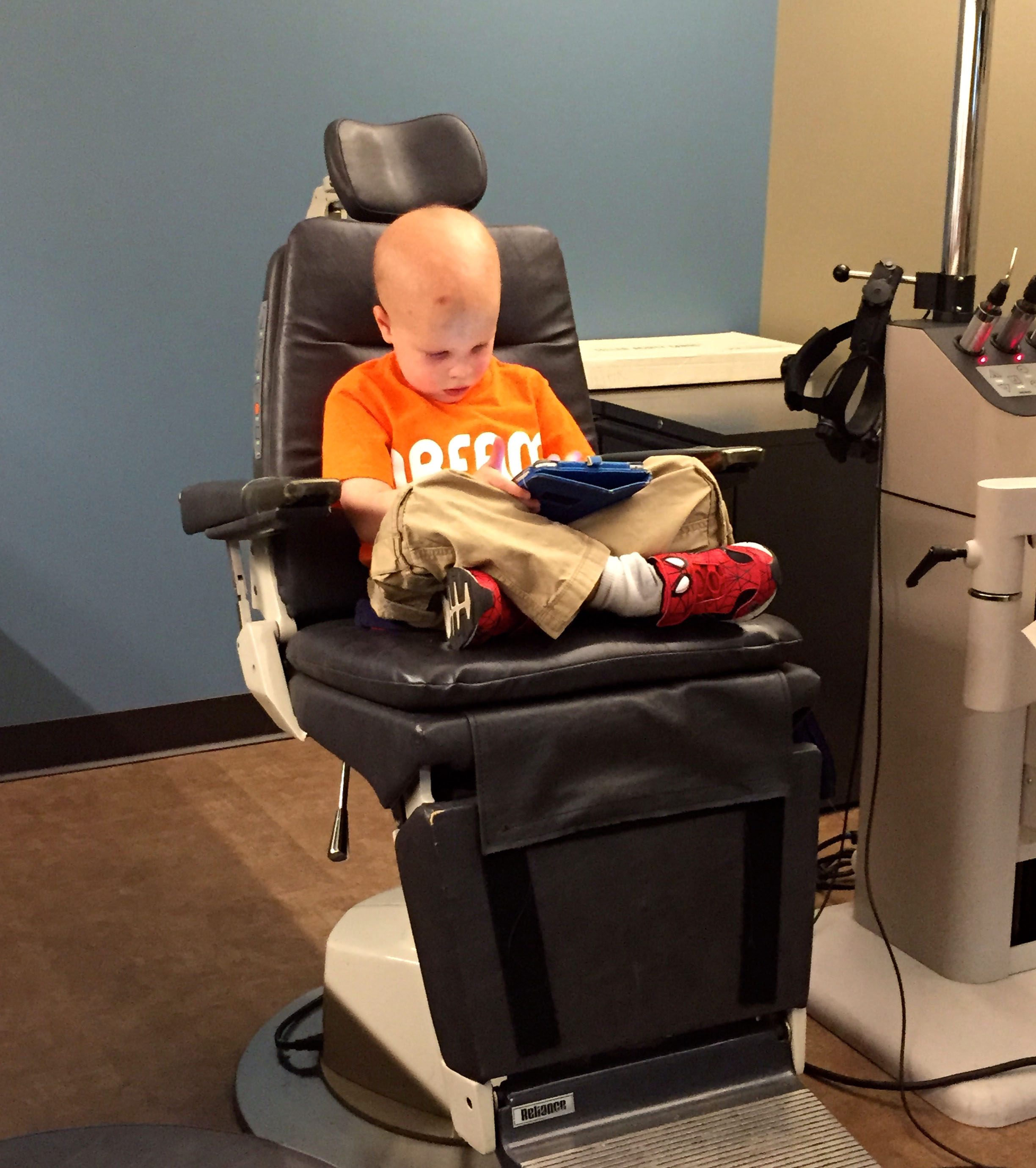 Chase sits in the doctor's chair