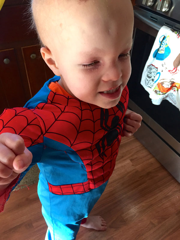 Chase in his Spiderman costume
