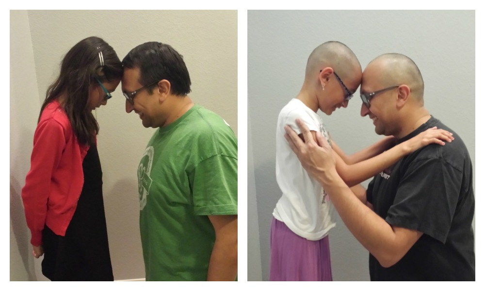 Hridi and Snehal Bhakta before and after head-shaving photos