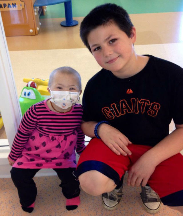 Coco and Jack in the hospital.