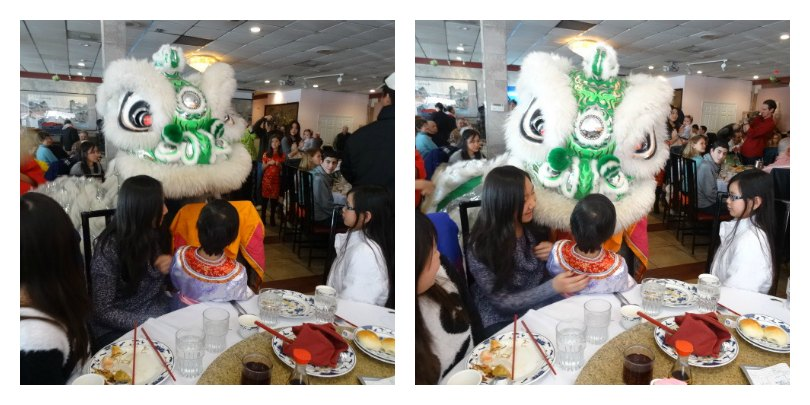 Daisy enjoyed seeing the lion dancers at the restaurant.