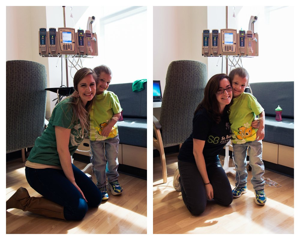 Micah poses by his IV pole with Kristen and Ali