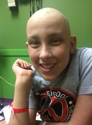 Sam while in treatment for acute myeloid leukemia