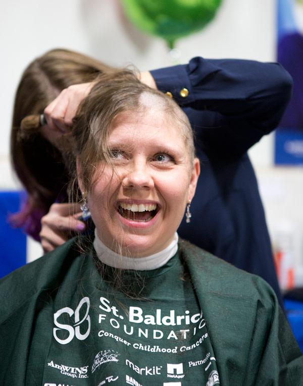 Tammy shaves for St. Baldrick's.