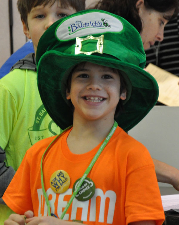 Austin wearing a great leprechaun hat at a St. Baldrick's event in March
