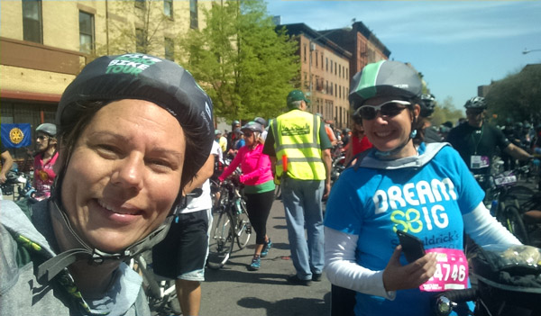 Susan and Jane smile for the camera at the start of this year's Five Boro Bike Tour
