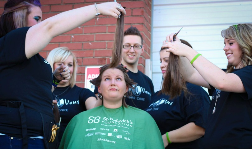 Ashlee's long hair gets clipped before her shave