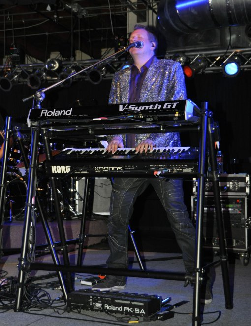 The piano player for the 80s cover band, the 6 Million Dollar Man Band, grooves