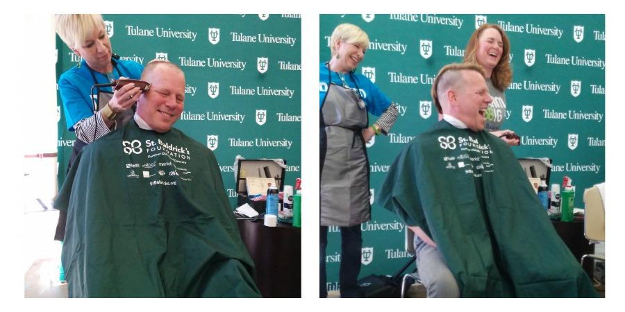 Collage of Dr. Robert Vasquez shaving for St. Baldrick's