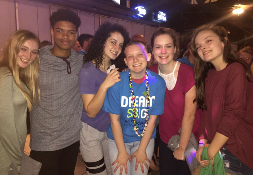Cierra and her friends at the head-shaving event