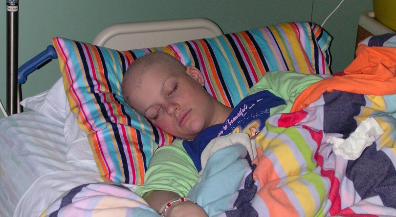 Ambassador Sarah sleeps during her first fight against cancer