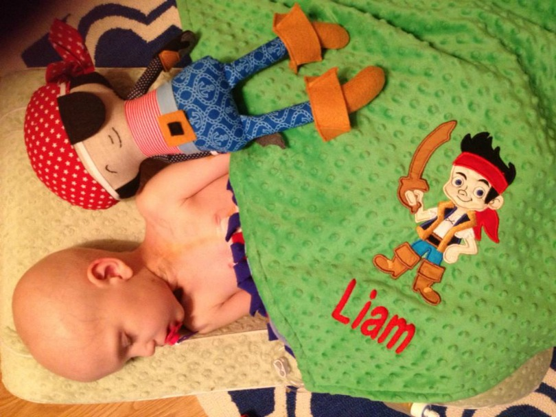 Liam sleeps under a special blanket