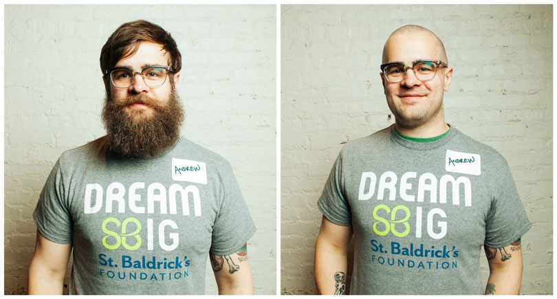 Andrew before and after his shave for kids' cancer