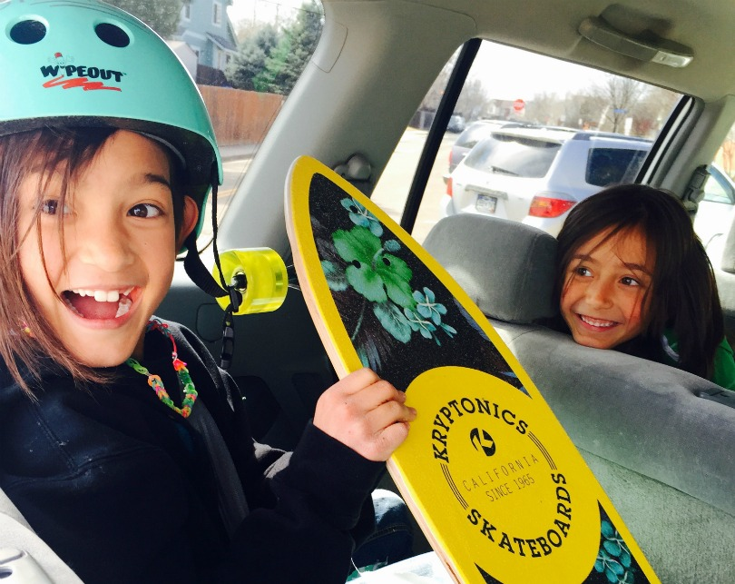 Ari received one present for her ninth birthday — a skateboard.