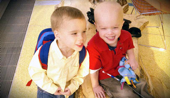 Chase and Aidan playing together in the hospital